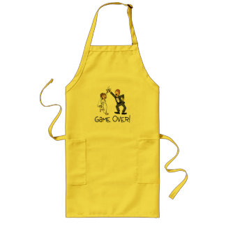 Bride and Groom Game Over Long Apron