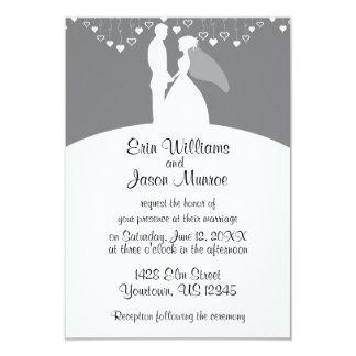 Bride and Groom Gray Hearts Invitation