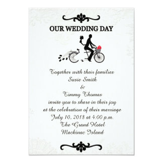 Bride and Groom on Tandem Bicycle Wedding Invitati 13 Cm X 18 Cm Invitation Card