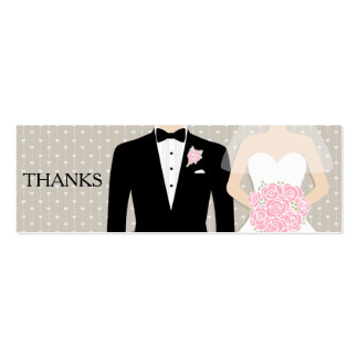 Bride and groom wedding free drink voucher card pack of skinny business cards