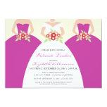 Bride & Bridesmaids Bridal Luncheon (fuchsia) 13 Cm X 18 Cm Invitation Card