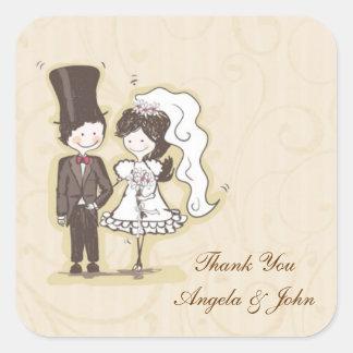 Bride Groom Stick Couple Label Square Sticker