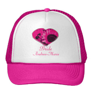 """Bride"" - w/ Name_ Neon Pink Sunflower Heart Cap"