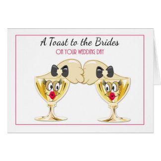Brides Champagne Toast, Lesbian Wedding Congrats Greeting Card