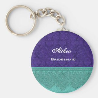 Bridesmaid Navy Blue and Teal Damask Ribbon V10 Basic Round Button Key Ring