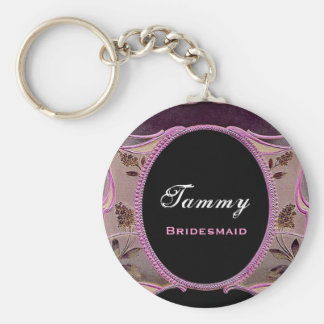 Bridesmaid Pink and Black Vintage Floral E032 Basic Round Button Key Ring