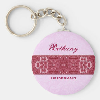 Bridesmaid Pink and Red Floral Ribbon E021 Basic Round Button Key Ring