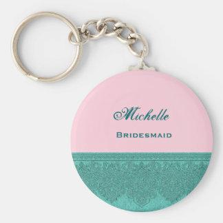 Bridesmaid Pink and Teal Damask Ribbon V02 Basic Round Button Key Ring