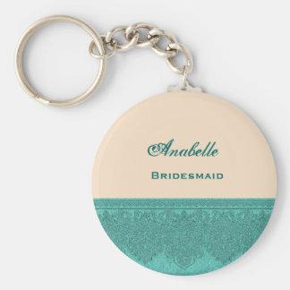 Bridesmaid Pink and Teal Damask Ribbon V03 Basic Round Button Key Ring