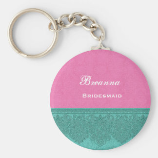 Bridesmaid Pink and Teal Damask Ribbon V17 Basic Round Button Key Ring