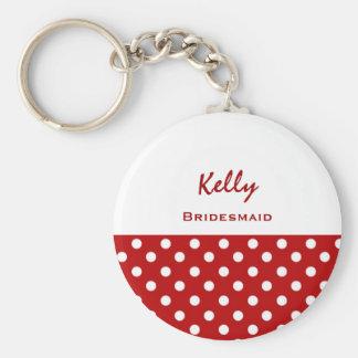 Bridesmaid Red Polka Dots KC12 Basic Round Button Key Ring