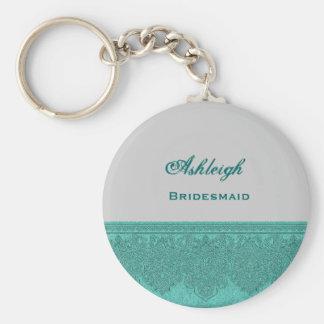 Bridesmaid Silver and Teal Damask Ribbon V05 Basic Round Button Key Ring