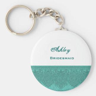 Bridesmaid Silver and Teal Damask Ribbon V06 Basic Round Button Key Ring