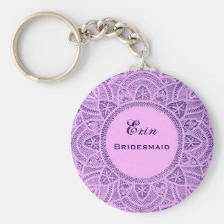 Bridesmaid Wedding Favor Purple Vintage Lace B026 Basic Round Button Key Ring