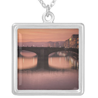 Bridges over the Arno River at sunset, 2 Square Pendant Necklace