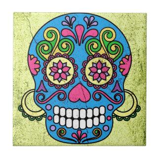 Bright Blue Sugar Skull Day of the Dead! Small Square Tile