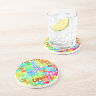 Bright Colors Retro Squares Circles Mosaic Pattern Beverage Coasters