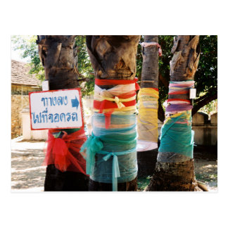 Bright Coloured Cloth Tied Around Trees Postcard