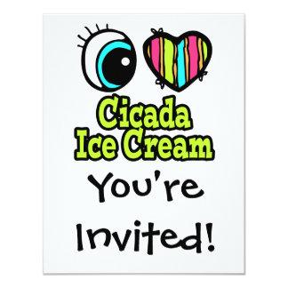 Bright Eye Heart I Love Cicada Ice Cream 11 Cm X 14 Cm Invitation Card
