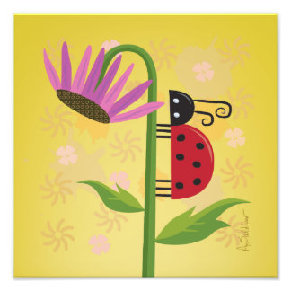Bright Ladybug on Purple Flower Square Art Print Photo Print