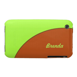 Bright Lime Green and Brown Mod Case-Mate iPhone 3 Case
