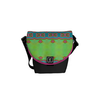 Bright Neon Green Pink Tribal Butterfly Effect Messenger Bag