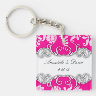 Bright Pink and White Floral Design Single-Sided Square Acrylic Key Ring