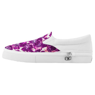 Bright purple flower slip on shoes printed shoes