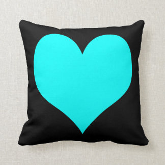 Bright Turquoise and Black Hearts Throw Cushion
