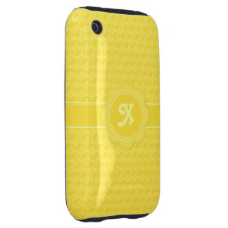 Bright Yellow 3D cubes cascading iPhone 3 Tough Covers