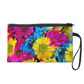 Brightly Colored Daisies Wristlet