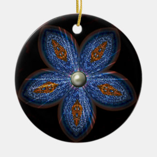 Brilliant Blues Batik Round Ceramic Decoration