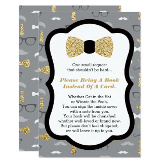 Bring A Book Card, Little Man, Baby Shower 9 Cm X 13 Cm Invitation Card