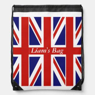 British Flag Personalized Drawstring Backpack