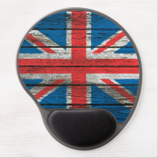 British Flag with Rough Wood Grain Effect Gel Mouse Pad