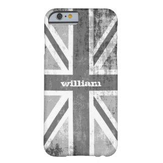 British UK Union Jack Flag in Grunge Grey Barely There iPhone 6 Case
