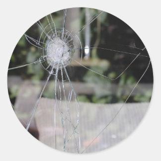 Broken show-window round sticker