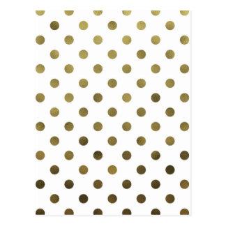 Bronze Gold Leaf Metallic Faux Foil Polka Dot Postcard