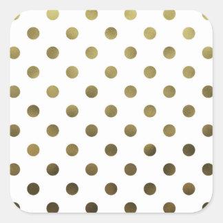 Bronze Gold Leaf Metallic Faux Foil Polka Dot Square Sticker
