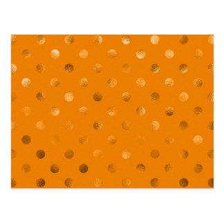 Bronze Gold Metallic Faux Foil Polka Dot Orange Postcard