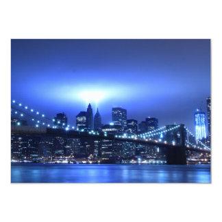 Brooklyn Bridge at Night, New York 11 Cm X 16 Cm Invitation Card