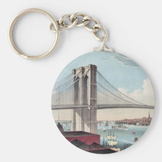Brooklyn Bridge painting Basic Round Button Key Ring