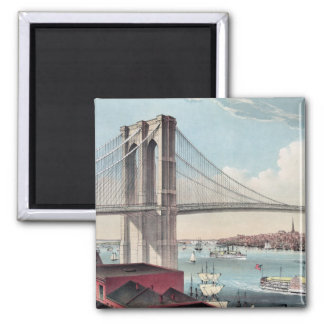 Brooklyn Bridge painting Square Magnet