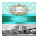Brooklyn Bridge Turquoise White Damask Sweet 16 13 Cm X 13 Cm Square Invitation Card