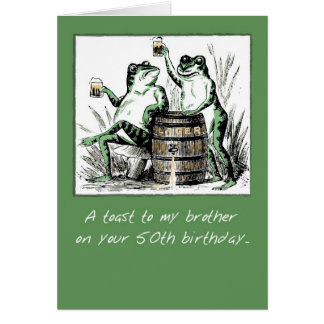 Brother, 50th Birthday, Frogs with Beer Greeting Card