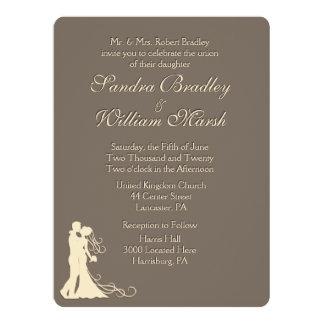 Brown and Cream Wedding 17 Cm X 22 Cm Invitation Card