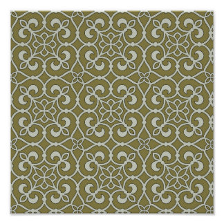 Brown and Green Moroccan Scroll Ornate Pattern Poster