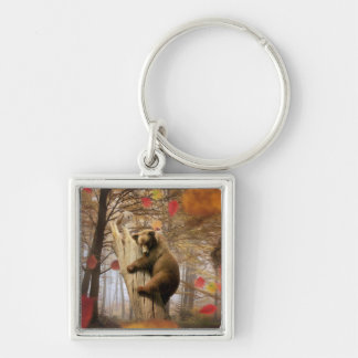 Brown bear climbing on tree Silver-Colored square key ring