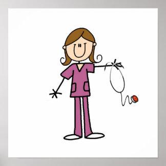 Brown Hair Female Stick Figure Nurse Poster
