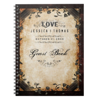 Brown Halloween Wedding LOVE Gothic GUEST BOOK Note Book